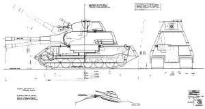 Blueprint #3382, dated June 17th, 1942 – 140ton – 150mm + 75mm gun