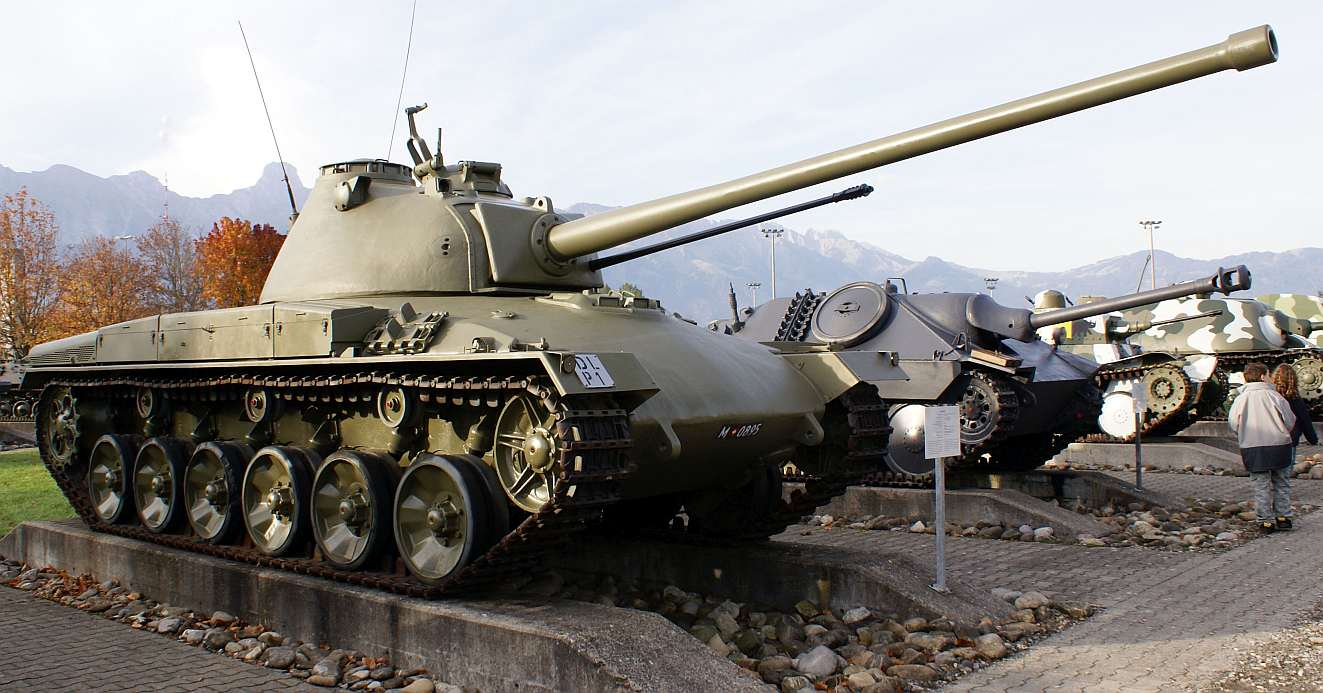 """""""Panzer 58"""" by Wikimedia Commons user TheBernFiles. - Own photograph. Shot at the Army Days 2006 (Heerestage 2006) in Thun.. Licensed under Public Domain via Wikimedia Commons - http://commons.wikimedia.org/wiki/File:Panzer_58.jpg#/media/File:Panzer_58.jpg"""